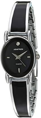 Armitron Women's 75/5423BKSV Diamond-Accented Dial Silver-Tone and Black Bangle Watch