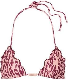 Vix Paula Hermanny Bali Ruffled Printed Triangle Bikini Top
