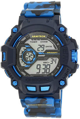 Armitron Mens Blue Camo Digital Strap Watch