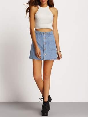ddd02800a Shein Faded Wash Slant Pocket Button Down Denim Skirt