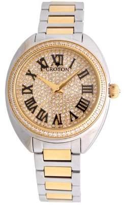 01d6905341b Croton Ladies Two-tone Swiss Quartz Watch with Set CZ Bezel and Pave Dial