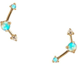 Women's Wwake Counting Collection Three-Step Opal & Diamond Point Earrings $676 thestylecure.com