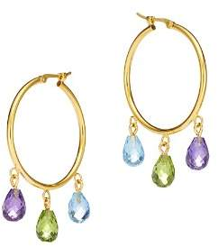 Bloomingdale's Multi-Gemstone Briolette Hoop Earrings in 14K Yellow Gold