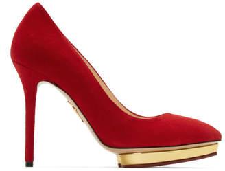 Charlotte Olympia Red Suede Debbie Heels