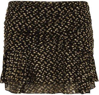 Saint Laurent Ruched Metallic Fil Coupé Silk-blend Chiffon Mini Skirt - Black