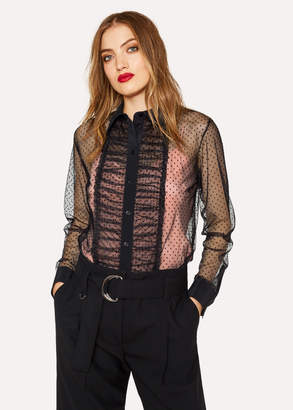 Paul Smith Women's Black Flocked-Spot Frill Shirt With Contrast Cami