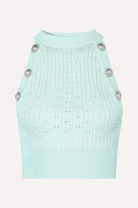 Balmain Button-embellished Cropped Ribbed Pointelle-knit Tank - Light green