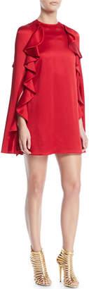 Valentino Hammered Satin Ruffle Cape Dress