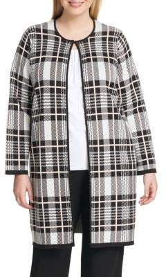 Calvin Klein Plus Plaid Knit Jacket