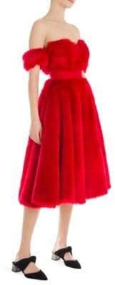 Sara Battaglia Faux Fur Cocktail Dress