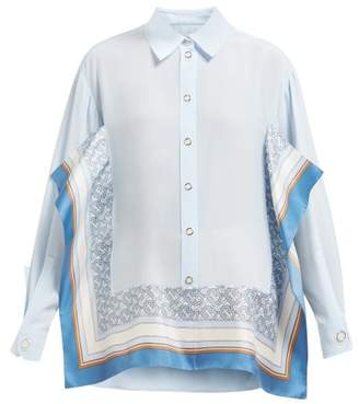 Burberry Monogram Panel Silk Crepe Shirt - Womens - Blue Multi