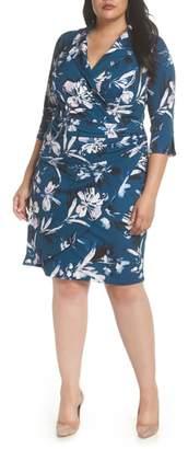 Eliza J Faux Wrap Collar Dress
