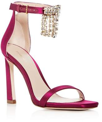 Stuart Weitzman Women's 100Fringesquarenudist Satin Embellished High-Heel Ankle Strap Sandals