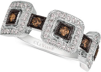 LeVian Le Vian Chocolatier Diamond Square Cluster Statement Ring (1/2 ct. t.w.) in 14k White Gold