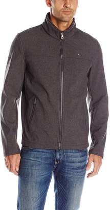 Tommy Hilfiger Men'soft-Shell Classic Zip-Front Jacket with Tonal Logo At Back Neck