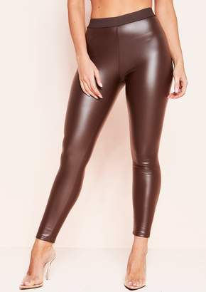472f73588d78 Missy Empire Jenny Brown Faux Leather Leggings