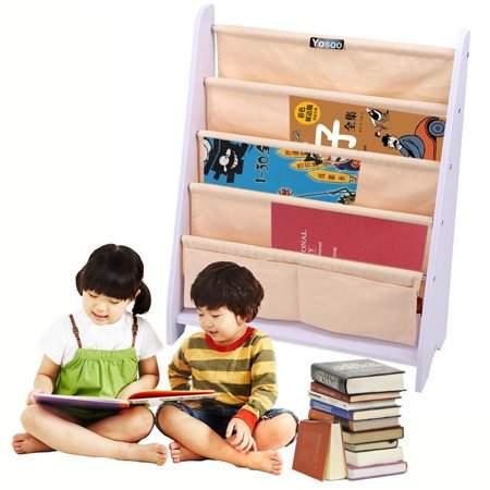 VGEBY Kids Book Shelf Sling Storage Rack Holder Bookcase Room Organizer Wood 5 Tier