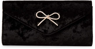 Jessica McClintock Black Liliana Velvet Flap Clutch