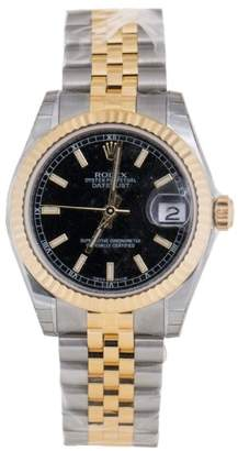 Rolex Datejust Black Dial Automatic Stainless Steel and 18kt Gold Ladies 31mm Watch