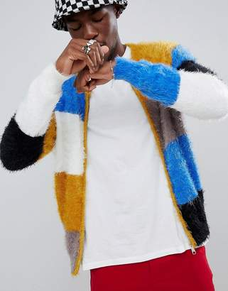 Asos DESIGN Knitted Bomber Jacket In Fluffy Color Blocked Yarn