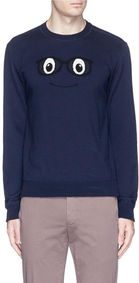 AlteaAltea Face logo intarsia cotton sweater