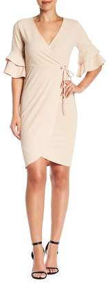 Blvd Layered Elbow Sleeve Solid Dress