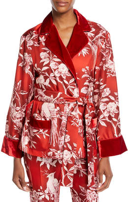 Frs By Francesca Ruffini Floral-Print Satin Robe Jacket w/ Velvet Trim