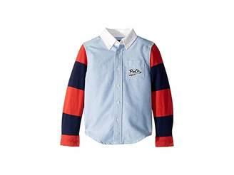 Polo Ralph Lauren Jersey Sleeve Oxford Shirt (Toddler)