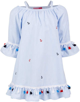 Good Lad Little Girls Striped Seersucker Nautical Dress