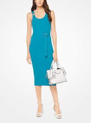Michael Kors Belted Ribbed Knit Dress