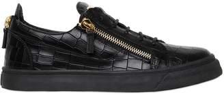 Giuseppe Zanotti Design Croc Embossed Leather Sneakers