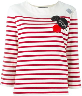 Marc By Marc Jacobs patched breton stripe top $468.53 thestylecure.com