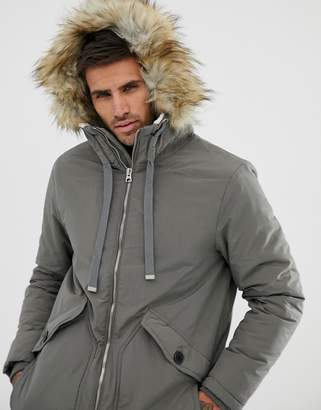 d225cb37 Pull&Bear borg lined parka in grey with faux fur trim hood
