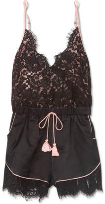 Morgan Lane Emma Lace And Charmeuse Playsuit - Black