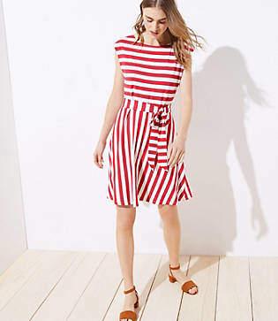 LOFT Petite Striped Tie Waist Flare Dress