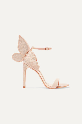 Sophia Webster Chiara Embroidered Leather And Suede Sandals - Neutral