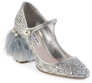 Miu Miu Feather & Gliter Mary Jane Pumps $850 thestylecure.com