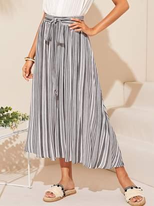 Shein Vertical Striped Belted Skirt
