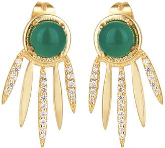 At Wolf Badger Carousel Jewels Green Onyx Dreamcatcher Earrings