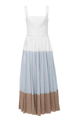 Lela Rose Pleated Cotton-Blend Maxi Dress
