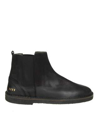 Golden Goose portman Boots In Faded Black Leather