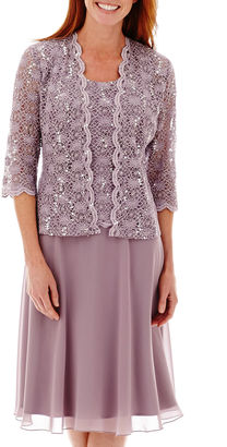R & M Richards R&M Richards Long-Sleeve Lace Chiffon Jacket Dress $120 thestylecure.com