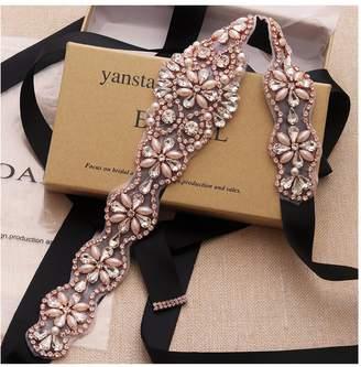 Yanstar Wedding Bridal Belt With Rose Gold Rhinestone White Ribbon Sashes For Wedding Gown