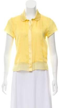 Mint Silk Button-Up Blouse