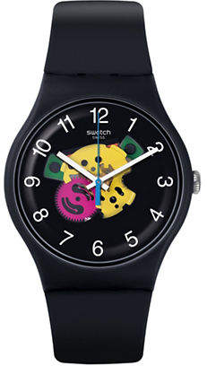 Swatch Colour Studio Collection Black Silicone Strap Watch