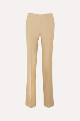 The Row Ladan Wool And Silk-blend Straight-leg Pants - Beige