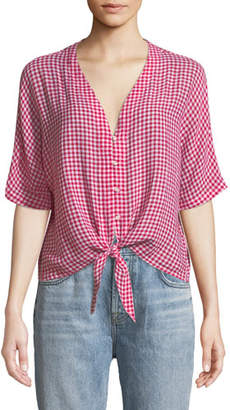 d6af5c79 Rails Thea V-Neck Button-Front Gingham Linen-Blend Top w/ Tie