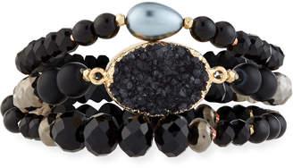 Nakamol 3-Strand Pearl & Druzy Bracelet
