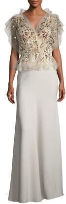 Jenny Packham Beaded Tulle Peplum Combo Gown