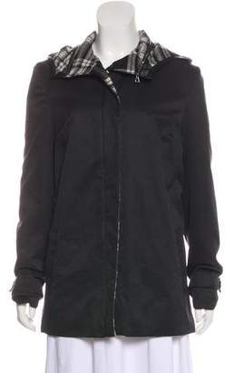 L'Agence Hooded Leather-Trimmed Jacket